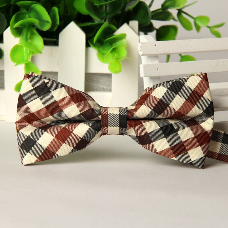 SHENNAIWEI 12cm*6 Cm 2016 High Quality Mens Cotton Polyester Pretied Neck Plaid Bowtie Men Party Bow Tie Lot