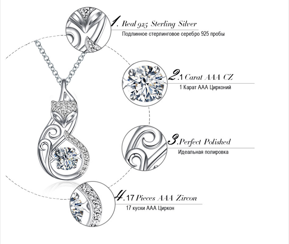 HTB1YmMiKeuSBuNjy1Xcq6AYjFXaF Effie Queen Crystal Women S925 Sterling Silver Necklaces Cute Fox Pendant Necklace for Women Lady Girl Jewelry Best Gift BN53