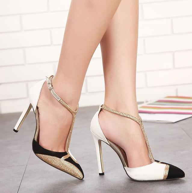 New Women high heels shoes women Pointed Toe Ankle T-tied Thin Heels  Pumps Dress Party Shoes Sandals mujer plus size 35-40 #218