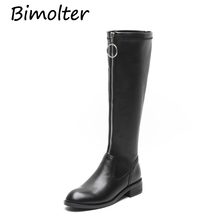 Bimolter Newest Fashion Knee High Boots Woman Round Toe Brief Styles Leather Long Women Quality NC016