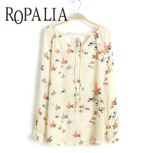 ROPALIA Women Chiffon Blouse Tops Floral Print Blouse Long Sleeve Tops Summer Casual Shirts