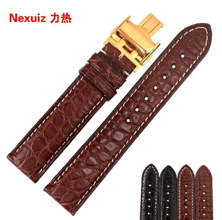Alligator Leather Watchbands Brown with White stitching Gold deployment clasp 18/19/20/21/22mm High Quality Customized designer 18 19 20 21 22mm 24mm watchbands belt men women black brown high quality genuine leather watch band strap deployment clasp