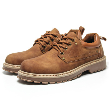 Fashion Brand Leisure Leather Shoes Men Classic Ankle Martin Shoes Lace Up Brown Youth Male Casual Leather Tooling Shoes brand handmade genuine leather shoes men dress oxfords shohes lace up men shoes new fashion designer brown flat male