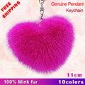 Envío libre 2017 de la moda de piel de visón importados en forma de corazón mujeres hermosas bolsas llavero del encanto de las mujeres regalo de cumpleaños colgante de coche