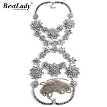Finest woman Crystal Gem Flower Boho Long Body Necklace Chain Charm Luxury Maxi Bijoux Collier Femme Statement Facebook Hot 2901