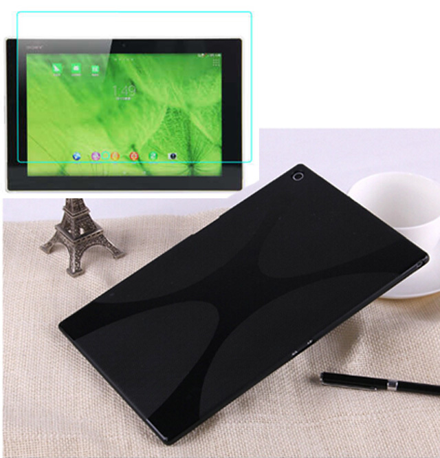1x Clear Screen Protector, X Line Luxury Soft Silicon Rubber TPU Gel Shell Cover Case For Sony Xperia Tablet Z2 SGP541/511/512CN x line tpu case gel silicone tablet case skin rubber cover pouch sleeve bag for sony xperia z3 8 0 tablet compact sgp621 sgp641