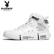 PLAYBOY สบายๆสบายๆรองเท้าผู้ชายรองเท้าหนัง PU คุณภาพสูง Comfort รองเท้าแฟชั่นแบนรองเท้า Lace   Up เรือรองเท้า