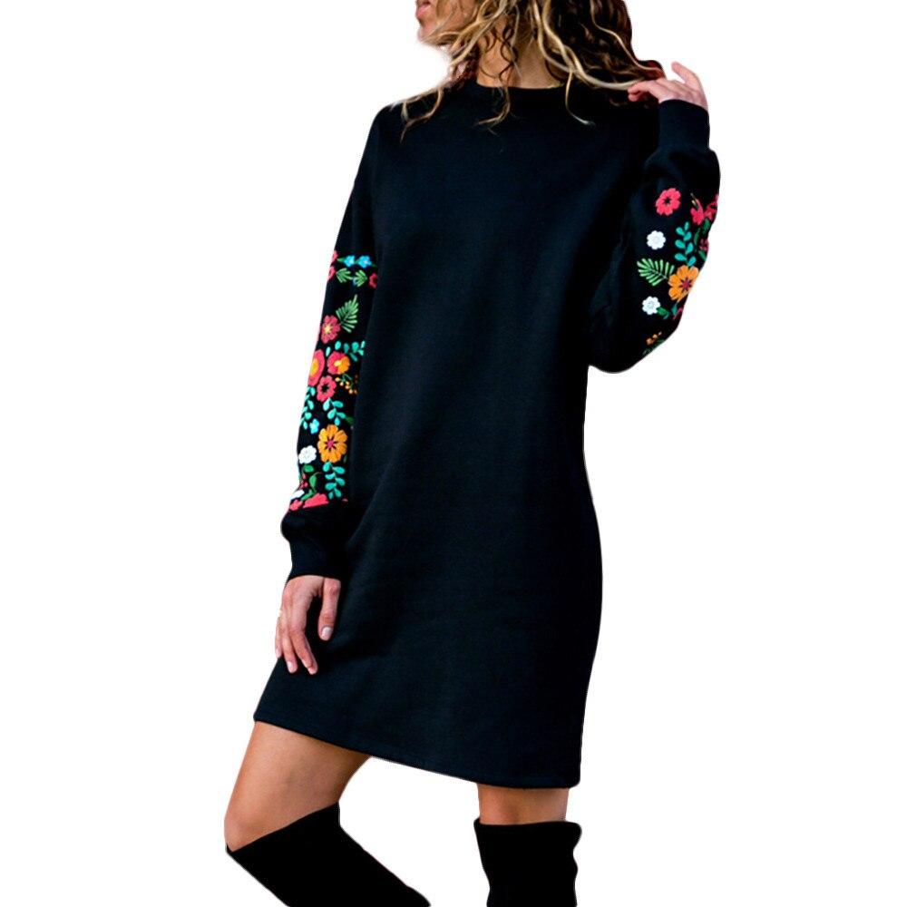 CHAMSGEND Black Dress Women O Neck Embroidery Long Sleeve Mini Sweatshirt Dress  Fashion Autumn Winter Female a4451c271cbb