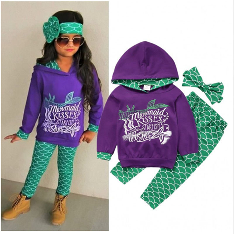 Boys and Girls Mermaid Cosplay Costume Warm Cotton Blouse + Pants + Headwear 3 Sets of Costumes Children's Sportswear 1-6y
