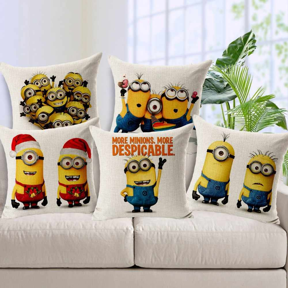 45*45cm Children Cushion Cover Minion Bed Sofa Pillow Decorative Cushions Fundas Para Cojines Without Filling