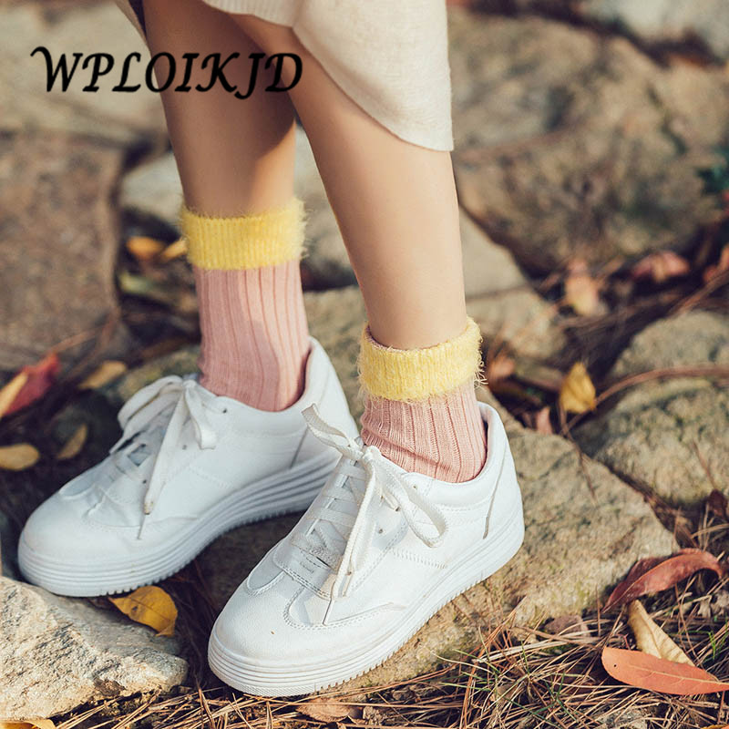 [WPLOIKJD]Harajuku Cute College Style Japan Patchwork Yarn Socks Women Wool Warm Meias S ...