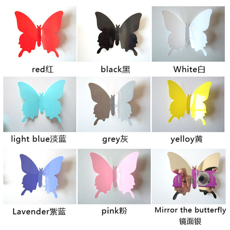 3d Butterfly Animal Cartoon 12pcs Vinyl Wall Stickers Home Decor Room Accessories Design Wall