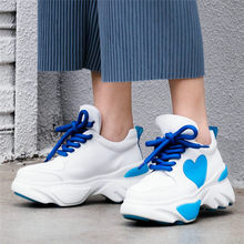 NAYIDUYUN   Women Cow Leather Wedges Platform High Heel Pumps Shoes Outdoor Comfortable Creepers Casual Shoes 2019 Punk Sneakers