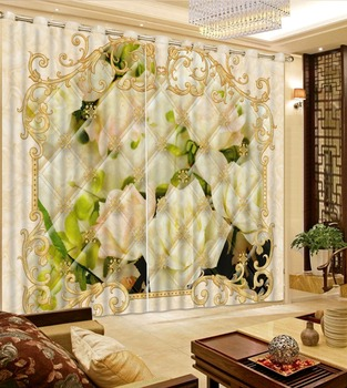 European Marble Curtain pattern Curtain Large Blackout Curtains For Living room thickness beautiful Sheer Curtains