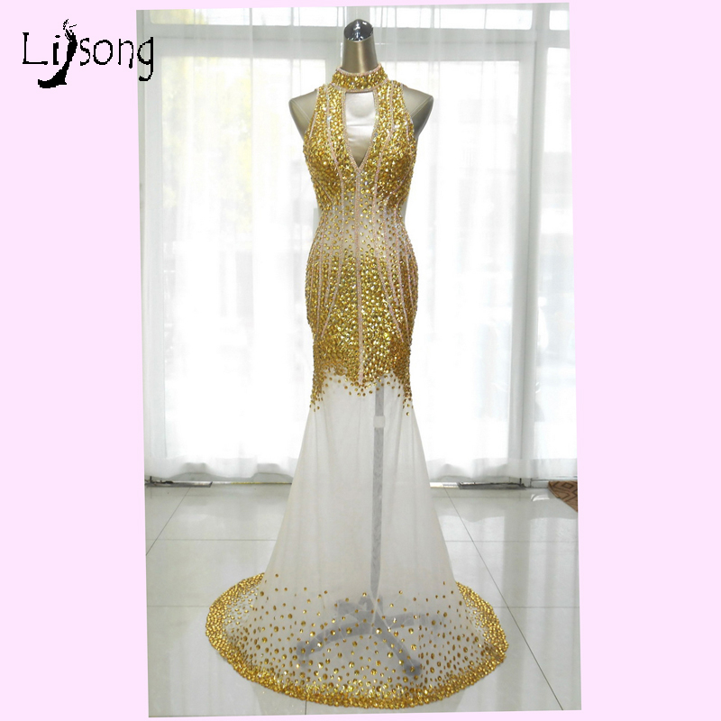 Sexy Backless Gold Rhinestone Mermaid   Prom     Dresses   2018 Crystal Long Halter   Prom   Gowns Aso Ebi Formal Party   Dress   Abendkleider