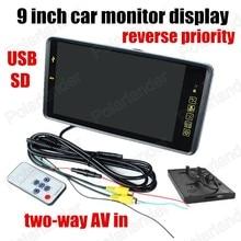 9 дюймов 2CH видео вход цветной TFT LCD Монитора Автомобиля для DVD камера заднего вида обратный приоритет USB SD