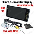 9 polegada 2CH entrada de vídeo a cores TFT LCD Monitor Do Carro para DVD câmera reversa reversa prioridade USB SD