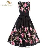 Sishion artı boyutu yaz dress s-xxl kadın kolsuz siyah çiçek baskı salıncak retro vintage rockabilly dress parti elbisesi 487