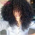 Новая звезда волос с закрытием 3 пучки монгольский странный вьющиеся волосы с закрытием 1b # Бесплатный/Midlle/Три часть странный вьющиеся закрытие