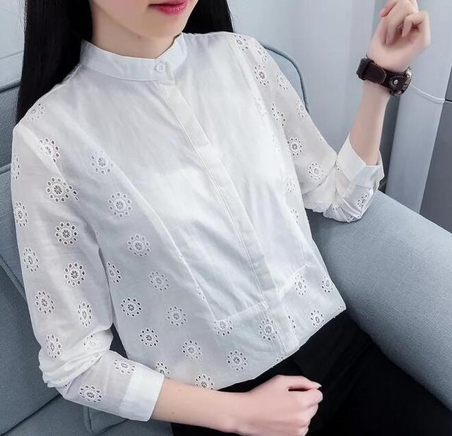 hollow out flowers embroidery stand collar long sleeve  shirt blouse 2017 spring