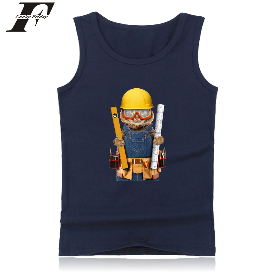 LUCKYFRIDAYF Builder Cat Vest Summer Funny Printing Sleeveless Shirt Soft Cotton Cool   Tops   Workout   Tank     Top   Fitness Bodybuilding