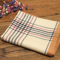Orange Classic Plaid Men Handkerchief Square 18 Inches 100 Cotton Handkerchiefs For Man With Gift Packing