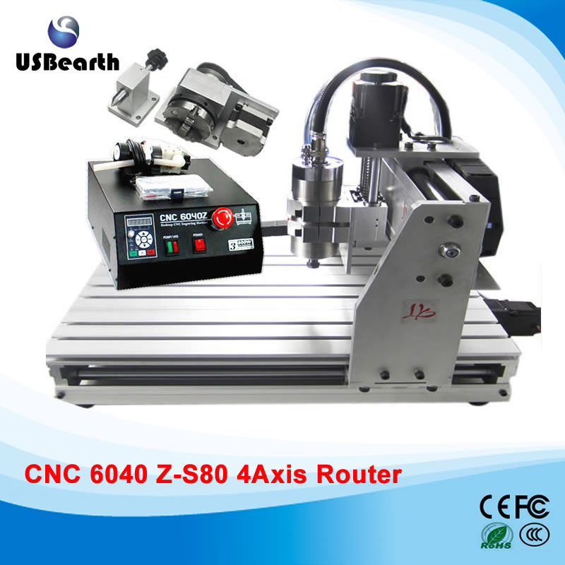 Desktop CNC machine 6040Z-S80 4 axis engraving machine for metal wood, CNC router, free tax to Russia cnc router wood milling machine cnc 3040z vfd800w 3axis usb for wood working with ball screw