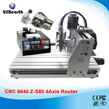 Desktop CNC machine 6040Z-S80 4 axis engraving machine for metal wood, CNC router, free tax to EU