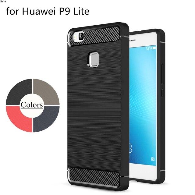 Bova áo giáp sợi carbon Trường Hợp đối với Huawei P9 Lite TPU Silicone Trường Hợp Ultra-mỏng Mềm Bìa Matte Feel trường hợp