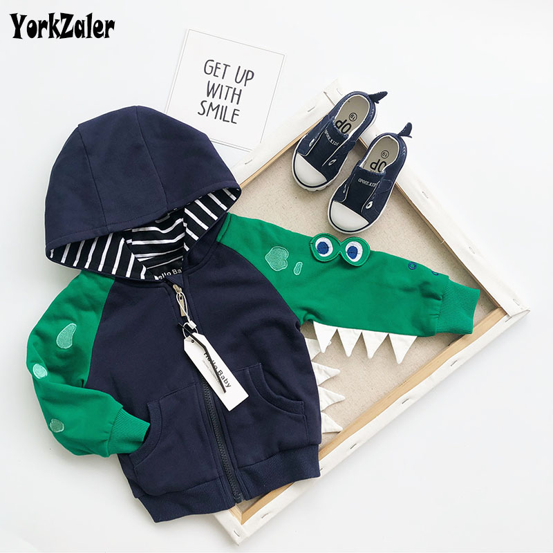 Yorkzaler Spring Autumn Kids Coats For Girl Boy Long Sleeve Cartoon Frogs Hoded Children's Jacket Casual Toddler Baby Outfits