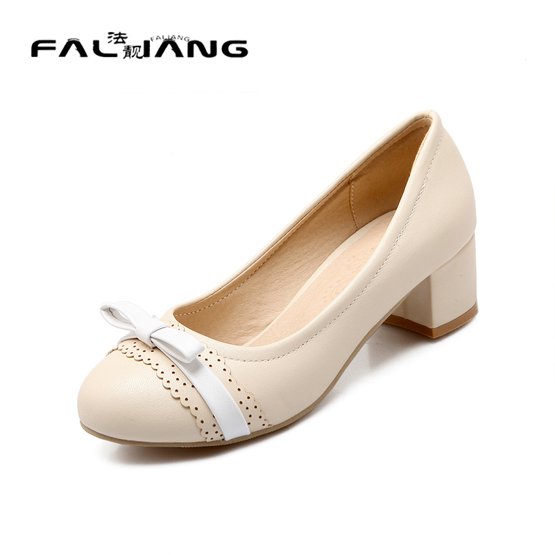 ФОТО Big Size 11 12 Spring/Autumn Elegant Shallow Casual Round Toe Square heel Women's Shoes Pumps Woman For Women