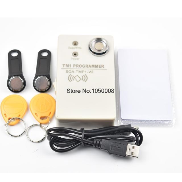 Cartão RFID 125 Khz Copiadora 2 Em 1 EM4100 TK4100 cartão RW1990 iButton Leitor + 2 pcs + 2 pcs Cartão + 2 pcs EM4305 Regravável EM4305 Tag