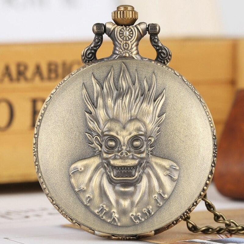 Retro Creative Monkey King Big Eyes Quartz Pocket Watch Steampunk Chain Necklace Pendant Antique Collection Gifts For Men Women