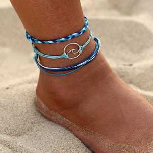 Anklets-Bracelets Rope Jewelry Beach-Anklet Wave Silver Bohemia Women 3pcs
