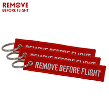 Remove Before Flight Keychain Car Ring OEM Red Embroidery Key Fobs Tag Label Keyring Chain Jewelry Trinket For Aviation Gifts