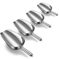 Ice Scoop Set Of 4,Stainless Steel Kitchen Multi Purpose Food Scoop For Weddings/Ice Cube/Coffee Bean/Candy/Flour/Popcorn/Ice