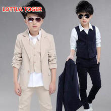 Burst! 2017 Brand New 3PCS Boys Solid Wedding Suit England Style Gentle Boys Formal Suit Children Spring Clothing Sets