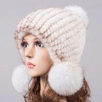 natural mink fur hat for winter women knitted earflap fur hats autumn warm fur pom pom beanies beige blue pink 10 colors H919