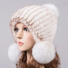 natural mink fur hat for winter women knitted earflap fur hats autumn warm fur pom pom beanies  beige blue pink 10 colors H919