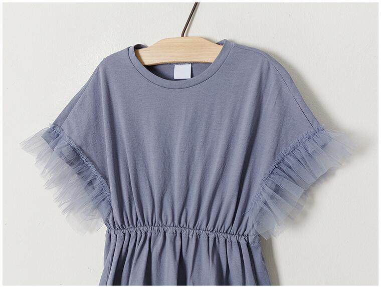 Teenager girls delicate simply styles mermaid tail dress children kids bat-wing sleeve summer ruffles splicing cotton dress 5