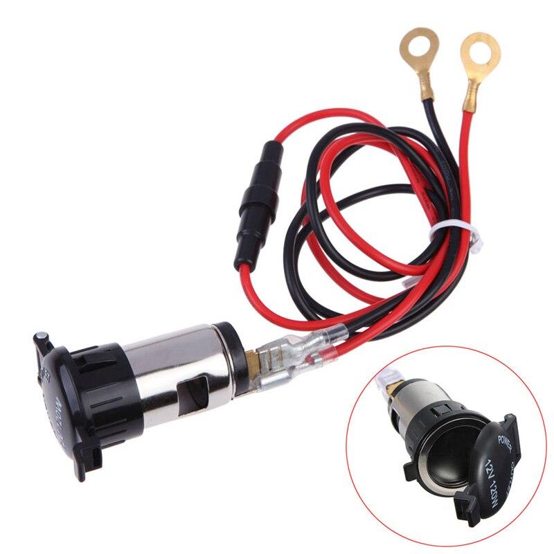 popular car cigarette lighter wiring buy cheap car cigarette 12v 120w car motorcycle truck cigarette lighter metal motorbike power outlet socket plug outlet 67cm