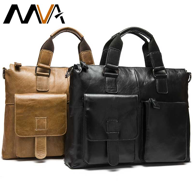 MVA Leather Laptop Bag Men's Briefcase Genuine Leather Bags Men's Bag Handbags Totes Office Messenger Bags For Men Briefcases-in Briefcases from Luggage & Bags    1
