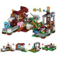 4 In 1 Block 390pcs Model Building Kids Brinquedos Set Figures Toys My World Compatible With