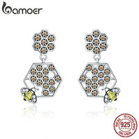 BAMOER Real 925 Sterling Silver Hard Working Bee In Honeycomb Square Drop Earrings For Women Fine