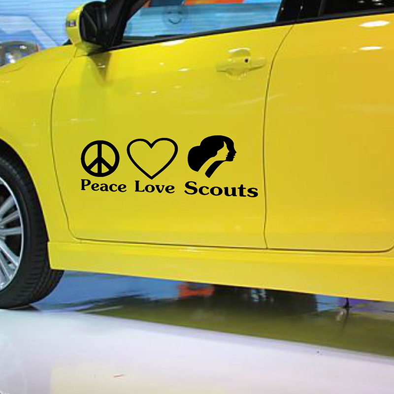 58cm x 26.36cm 2 x Peace Love Girl Scouts Funny Graphical (one For Each Side) Car Truck Window Door Sticker Vinyl Decal 9 Colors