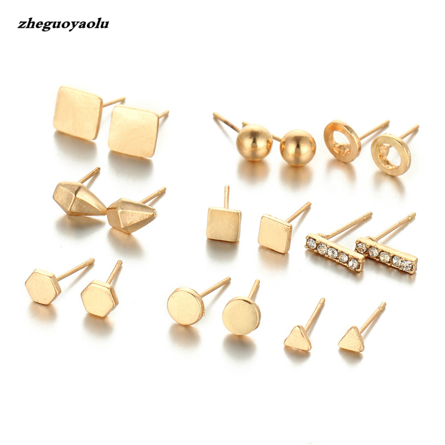 9 Pair Set New Fashion Crystal Stud Earrings For Women Female Round Small Geometric