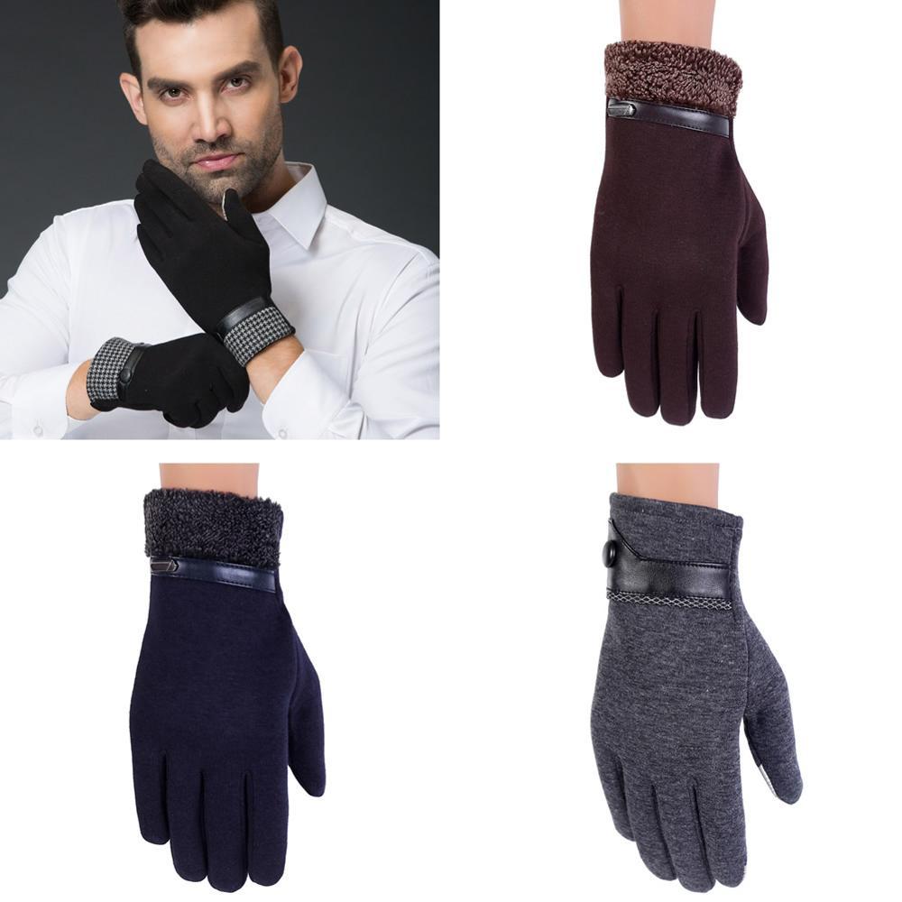 Men Boy Velvet Winter Warm Work Touch Screen Gloves Mittens Black Running Driving
