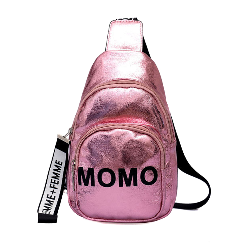 2019 New Fashion Stylish Women Waist Bag PU MOMO Printed Solid Color Chest Bag For Outdoor Sport BS88