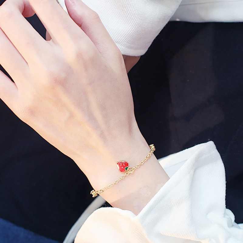 אופנה מתוקה תות צמידי לנשים טמפרמנט טרנדי זירקון צמיד בנות משאלת מזל Bracele שרשרת צמיד מתנה