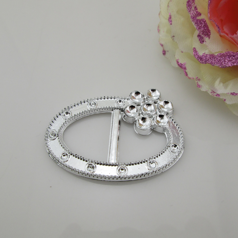 (AB107 21mm)100pcs Oval Flower Silver Acrylic Chair Sash Buckle